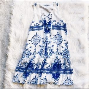 Lovers and Friends Blue and White Greece Dress